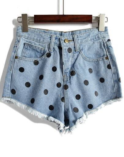 Blue Polka Dot Fringe Denim Shorts