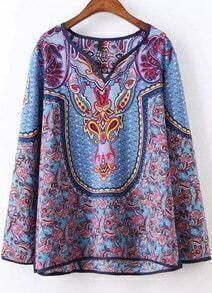 Blue V Neck Long Sleeve Floral Loose Blouse