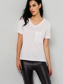 White V Neck Short Sleeve Loose T-Shirt