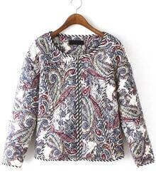 Multicolor Long Sleeve Cashew Print Coat
