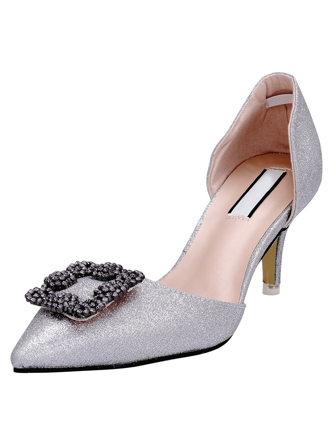 Silver Point Toe With Diamond High Heeled Pumps -SheIn