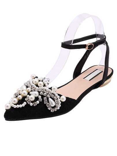 Black Point Toe With Pearl Flat Sandals