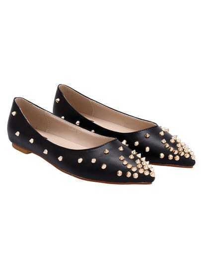 Black Point Toe With Rivet Flats