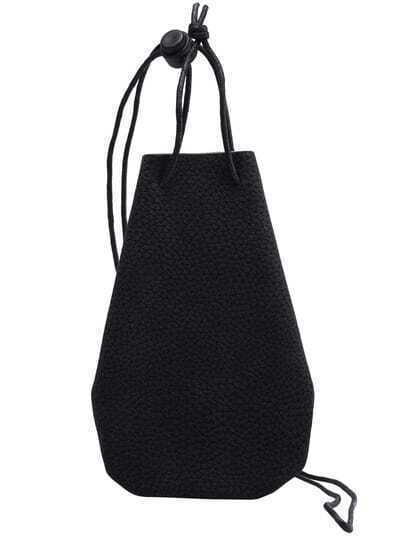 Black Drawstring PU Shoulder Bag