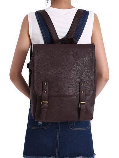 Dark Brown Buckle PU Backpacks