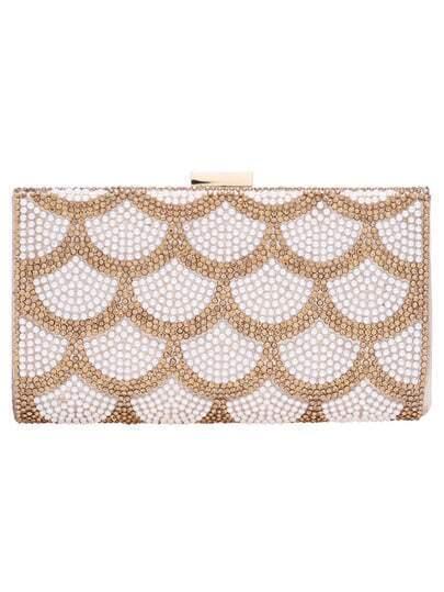 Gold With Diamond PU Shoulder Bag