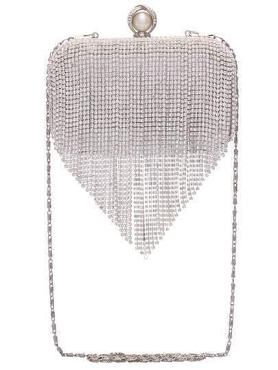 Silver With Diamond Tassel Shoulder Bag