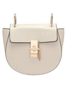 White Twist Lock Shoulder Bag