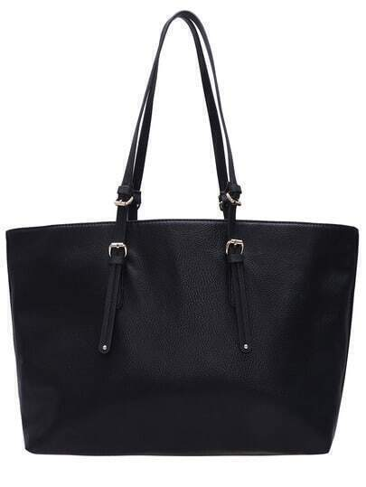 Black PU Oversized Shoulder Bag