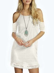 White Spaghetti Strap Off The Shoulder Tassel Dress