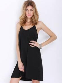 Black Spaghetti Strap Backless Dress