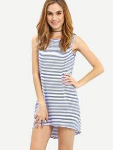 White Blue Sleeveless Striped Dress