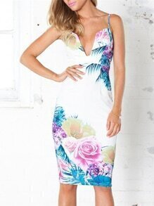 White Corseted Spaghetti Strap Floral Painted Print Dress