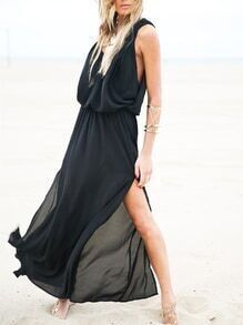 Black Sleeveless Split Maxi Dress
