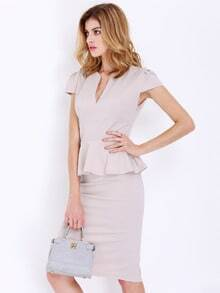 Apricot Cap Sleeve Sheath Dress