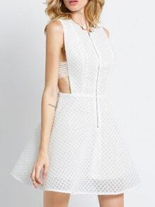 White Sleeveless Flare Zipper Dress
