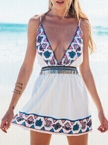 White Spaghetti Strap Deep V Neck Vintage Print Dress
