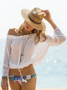 White Off The Shoulder With Lace Crop Top