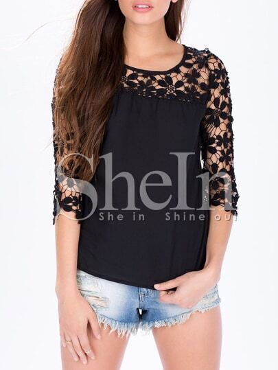 Black Half Sleeve With Crochet Lace Blouse pictures