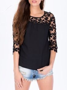 Black Half Sleeve With Crochet Lace Blouse