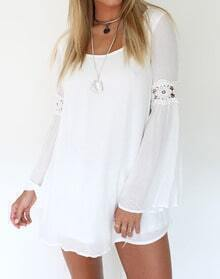 White Long Sleeve Floral Crochet Backless Dress