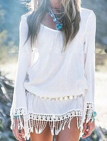 White Long Sleeve Tassel Loose Dress