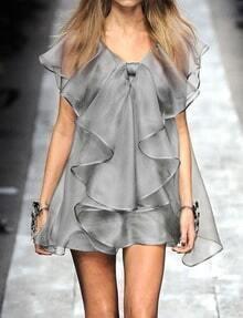 Grey V Neck Ruffle Sheer Mesh Fringed Dress