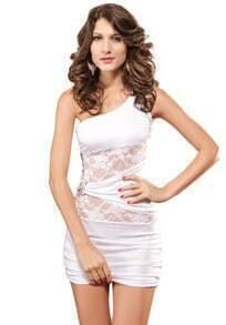 White One-shoulder Lace Slim Bodycon Dress