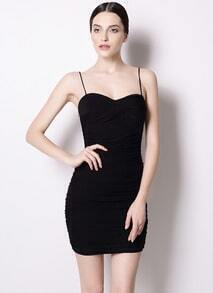 Black Spaghetti Strap Slim Pleated Bodycon Tube Dress
