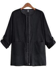 Black Long Sleeve Zipper Pockets Coat