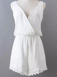 White V Neck Sleeveless Backless Lace Jumpsuit