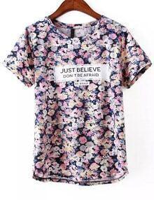 Blue Short Sleeve Floral Letters Print T-Shirt