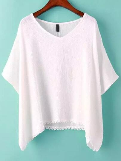 White V Neck Batwing Sleeve Loose T-Shirt