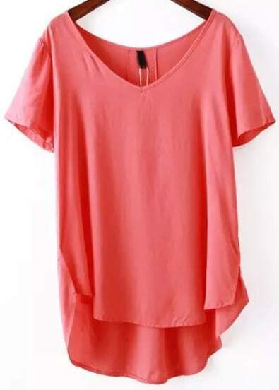 Red V Neck Short Sleeve Loose Blouse