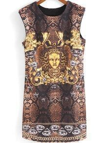 Khaki Sleeveless Snakeskin Greek Statue Print Dress