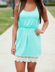 Blue Scoop Neck Sleeveless Lace Slim Dress