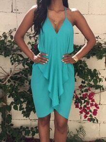 Blue Seafoam Halter Ruffle Asymetric Backless Slim Dress