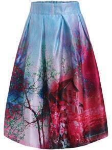 Blue Red Tree House Print Flare Skirt