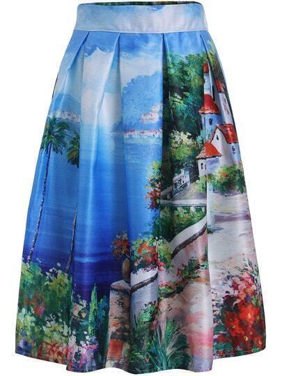 Blue Seascape Print Midi Skirt