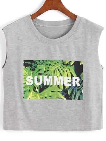 Grey Round Neck Leaves SUMMER Print Crop Tank Top