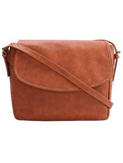 Brown With Zipper PU Shoulder Bag