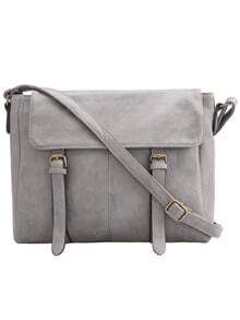 Grey Buckle PU Shoulder Bag