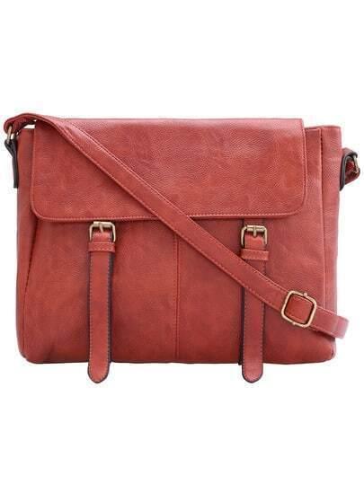 Brown Buckle PU Shoulder Bag