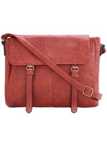 Brown Buckle PU Shoulder Bag