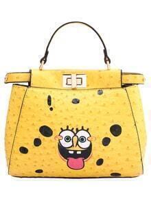 Yellow SpongeBob Print Twist Lock Shoulder Bag