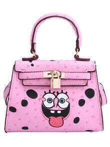 Pink SpongeBob Print Lock Shoulder Bag