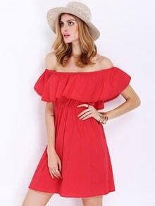 Red Off The Shoulder Ruffle Dress