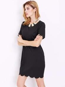 Black Short Sleeve Straight Dress