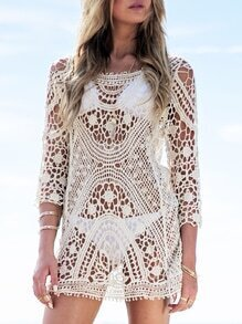 Apricot Long Sleeve Crochet Lace Blouse