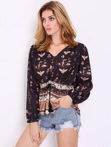 Black Long Sleeve Vintage Print Blouse